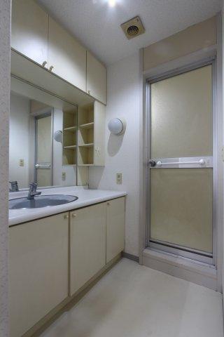 洗剤やティッシュなどの日用品の収納にも困らない、大容量収納スペースが魅力的な洗面台がございます◎ ホワイトで清潔感のある水廻り、ぜひ現地にて細部までご確認下さいませ!