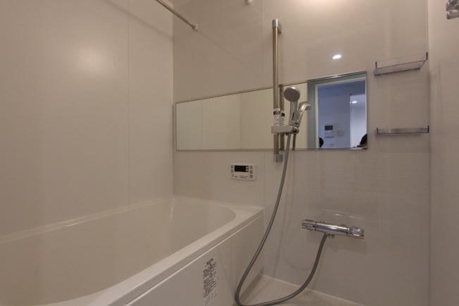 新設されたパウダールーム 洗面台下は収納スペースになっておりとても使いやすいですよ。壁のグリーンが爽やかな印象を与えてくれますね。