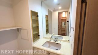 洗面化粧台です♪シャワー水栓で使い勝手がいいですね(^^)壁面にはこのの収納ができる棚がございます!