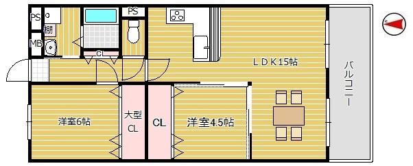 【2LDK】カウンターキッチン♪全居室たっぷり収納完備♪南向きバルコニーで日当たり良好☆TVモニターホン完備☆