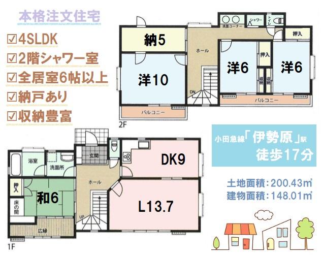 全居室6帖以上のゆとりを感じられる4SLDKの間取り 南側隣地が低くなっており、十分な日当たりを確保 収納豊富で暮らしやすさを考えられた注文住宅です。2階シャワーも嬉しいポイント。