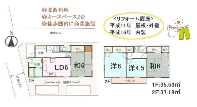 4DLの間取りは、全室南向きの明るいお住いです。キッチンはL字キッチンで広々と使えるます。収納も豊富な使い勝手の良い中古戸建てでございます。