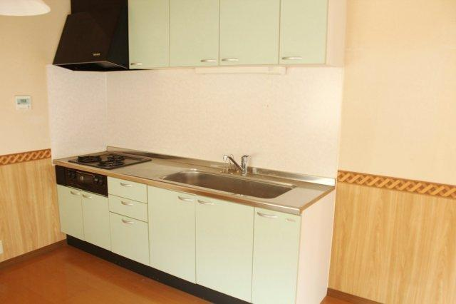 爽やかなお色、ミントグリーンのシステムキッチン、きれいにお使いです。大きなシンクも嬉しいポイントですね。
