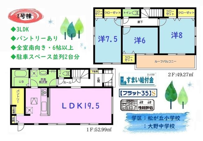 3LDK、全室南向きの明るい室内。全室6帖以上でゆとりあるプライベート時間が過ごせるおうちです◎キッチンパントリーや床下収納、全室収納付きで収納スペース豊富な間取りです。