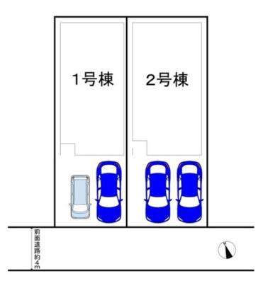 【区画図】万代6丁目全2棟1号棟 新築戸建