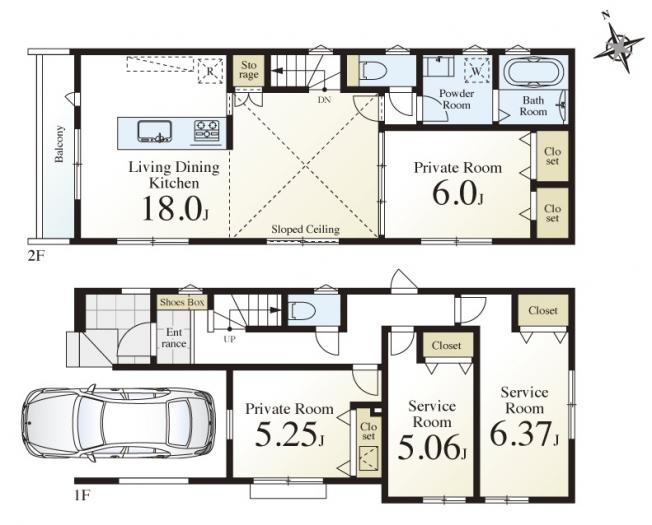 建物プラン例(1号地)建物価格1150万円、建物面積109.75㎡(車庫部分12.15㎡含む)
