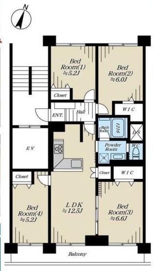 専有面積72.23平米 南向きの4LDK! 各室収納付きの使い勝手の良い間取りです