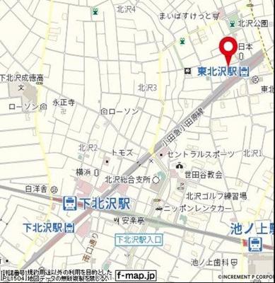 【地図】ルームズ北沢
