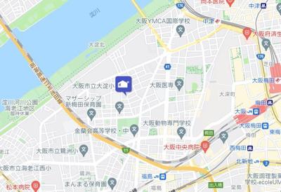 【地図】メゾン・ド・西梅田