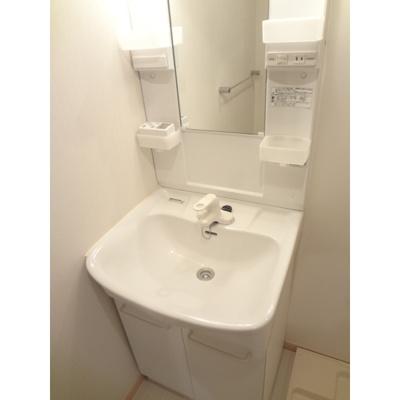 独立洗面台と洗濯機置場