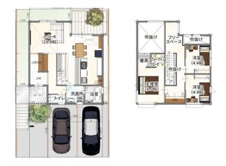 ・参考プラン価格:1850万(別途外構費160万)     ・建物価格は参考価格になります。 (弊社標準建物28坪で計算した価格です)       ・参考プラン延床面積:91.93㎡