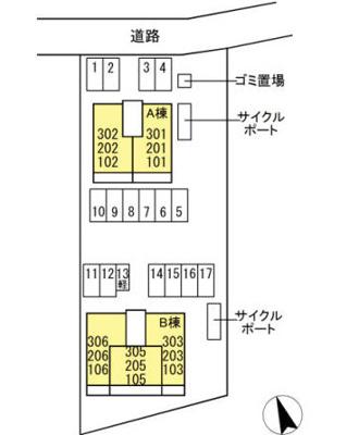【区画図】D-room合川町A棟
