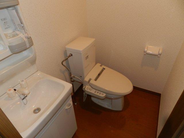 洗浄便座、洗面台付き。