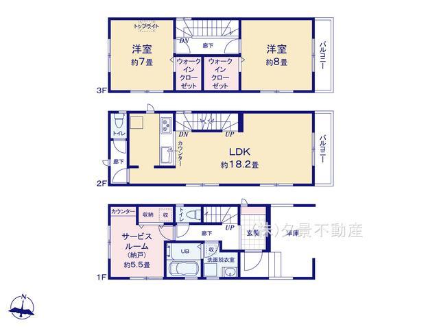 【区画図】浦和区元町1丁目12-3全2戸1号棟 新築一戸建てリーブルガーデン