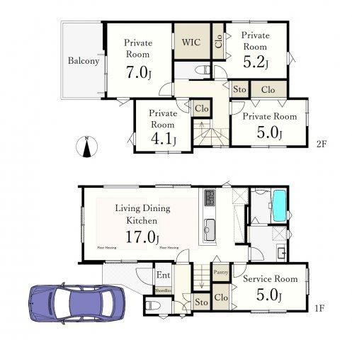 (1号棟)、4LDK+S、土地面積110m2、建物面積103.59m2