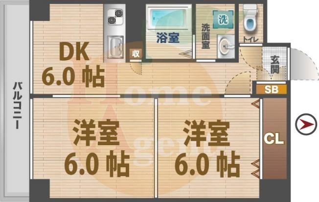 2DKのお部屋。
