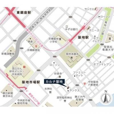 【地図】カルナ築地