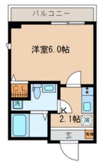 「居室とキッチン別タイプ1Kの間取りです」