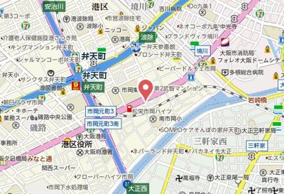 【地図】TAKUTO STAY OSAKA BENTENCHO