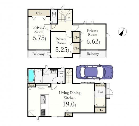 2号棟 土地面積89.24㎡ 建物面積90.46㎡ 3LDK 全室南向き♪♪ 広々19帖のLDKが魅力的な邸宅