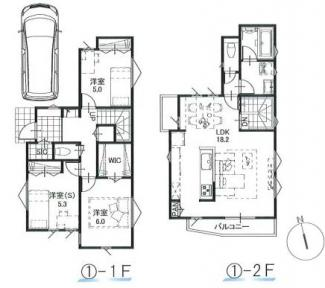 ①参考建物プラン:2LDK+1S、延床面積87.21平米