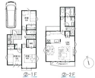 ②参考建物プラン:2LDK+1S、延床面積87.48平米