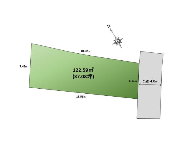 【区画図】37坪整形地!緑豊かな公園を望む立地。【建物参考プラン2階建95㎡】杉並区成田西1丁目 売地