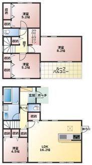 碧南市雨池町21-1期新築分譲住宅2号棟間取りです。