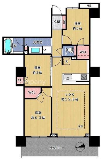 ペットと同居OK♪【3LDK】上層階!バルコニーから大阪市内を一望☆オール電化・床暖房・浴室乾燥機完備☆ウォークインクローゼット2ヶ所にあります♪