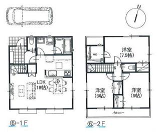 ⑥参考:3LDK、延床面積87.48平米、1,300万円