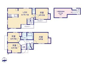 屋根裏部屋感覚で使える固定階段式グルニエ付の4LDKです