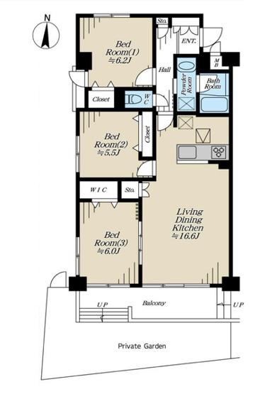 専有面積73.90平米 新耐震基準築浅マンション 向きでバルコニー+専用庭