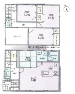 建物面積96.38平米 LDK16帖の4LDK 大型インナーバルコニー