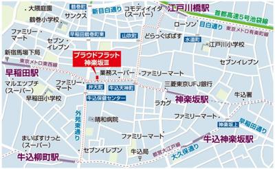 【地図】プラウドフラット神楽坂Ⅲ
