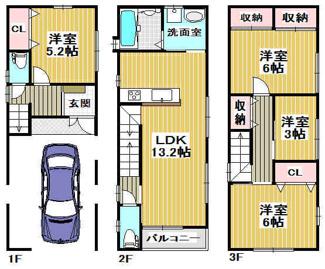 建物価格:1,680万円 延べ床面積:104.49㎡(車庫、ポーチ18.63㎡含)間取りプランです♪車庫付き4LDKの間取りです(^^)お好きな間取りで建築出来ます!お気軽にご相談下さい♪
