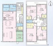 岐阜市瑞雲町 新築建売全1棟 2面バルコニー!2階に4部屋!お車スペース3台可能!LDK21帖!の画像