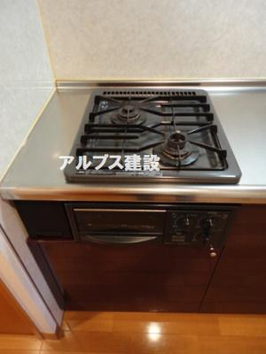 グリル付きガス2口キッチン
