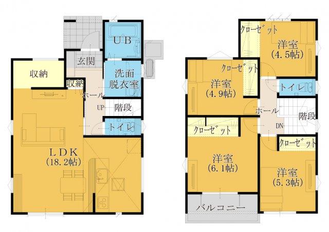【29坪4LDK】18帖の広々リビング♪全居室、フローリング設計☆