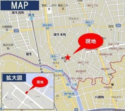 【地図】越谷市蒲生一丁目新築戸建て4LDK