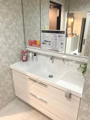 三面鏡タイプの洗面化粧台。収納たっぷり。
