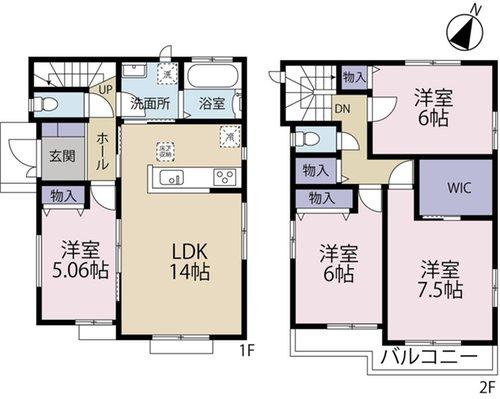 【土地図+建物プラン例】売地