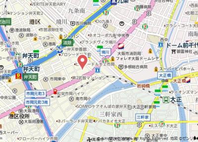 【地図】エステムコート難波WEST-SIDEⅤアジュール