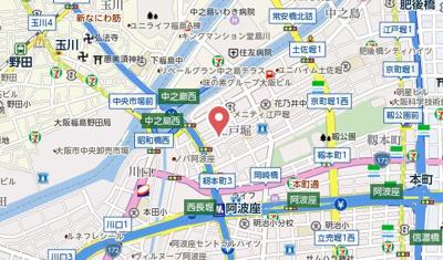 【地図】ジアコスモ江戸堀パークフロント