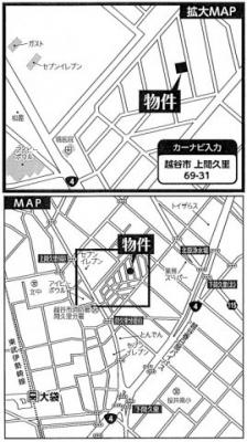 【地図】越谷市上間久里新築戸建て2棟現場4LDK