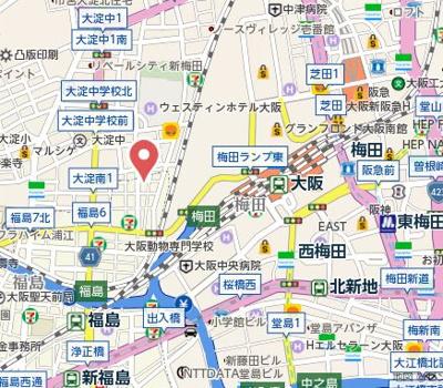 【地図】メイプルガーデン梅田