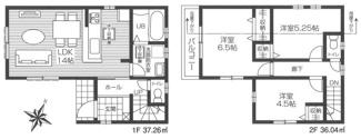 1階は水まわり集中プラン、2階に居室をまとめた快適な設計です