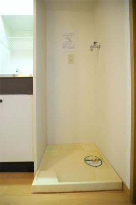 防水パン付きの洗濯機置場