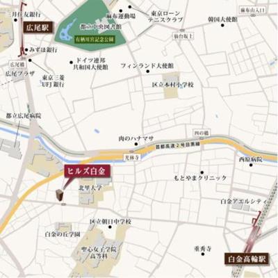 【地図】ヒルズ白金