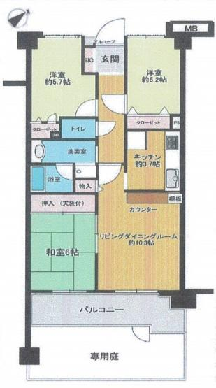 専有約66㎡の3LDK 東南向き 1階専用庭付