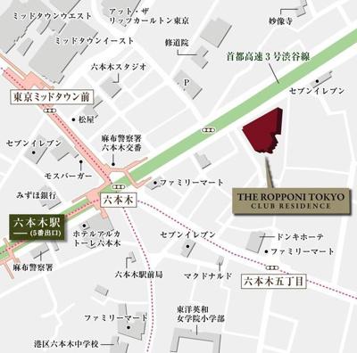 【地図】THE ROPPONGI TOKYO CLUB RESIDENCE